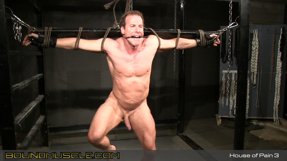 Painful self bondage male